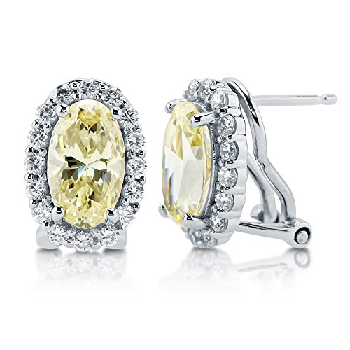 BERRICLE Rhodium Plated Sterling Silver Canary Yellow Oval Cut Cubic Zirconia CZ Halo Omega Back Anniversary Wedding Stud Earrings ()