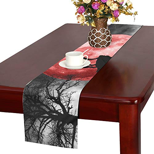 Wolf Howling Red Moon Table Runner, Kitchen Dining Table Runner 16 X 72 Inch for Dinner Parties, Events, Decor