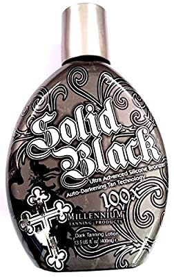 SOLID BLACK 100X Bronzer Indoor & Outdoor Dark Tanning Bed Lotion By Millennium 400ml (13.5 oz)