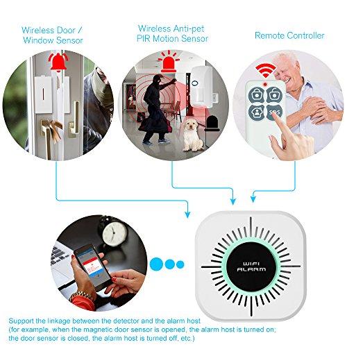 Compatible con Alexa Google Assistant Tuya Smart 1 /× Sensor de Puerta 1 /× Sensorde Movimiento 2 /× Control Remoto WiFi 2.4G OWSOO 433MHz Sistema de Alarma gsm WiFi 1 /× Host