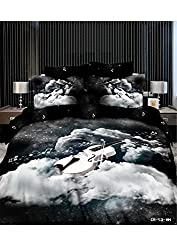 Joybuy 3d Black and White Cotton Twill Bedding Cotton Bedding Flowers Landscape Guitar Piano Queen Size 4pcs