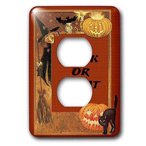 (3dRose LLC lsp_113906_6 Vintage Elements Witch, Black Cat, Pumpkin Trick Or Treat Halloween Design 2 Plug Outlet)