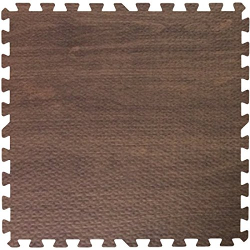 (Get Rung Walnut Woodgrain Fitness Mat with Interlocking Foam Tiles for Gym Flooring. Excellent for Pilates, Yoga, Aerobic Cardio Work Outs and Kids Playrooms. Perfect Exercise Mat(WOOD,)