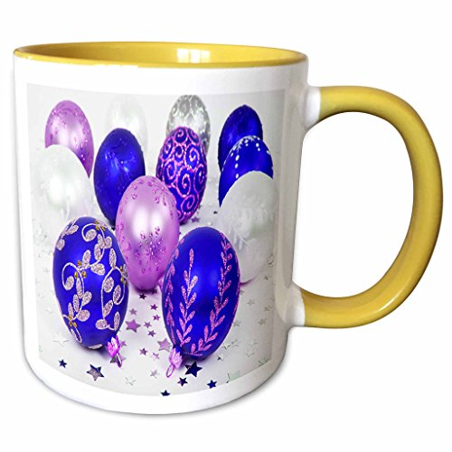3dRose Yves Creations Christmas Decorations - Blue and Purple Christmas Baubles - 11oz Two-Tone Yellow Mug (mug_36870_8)