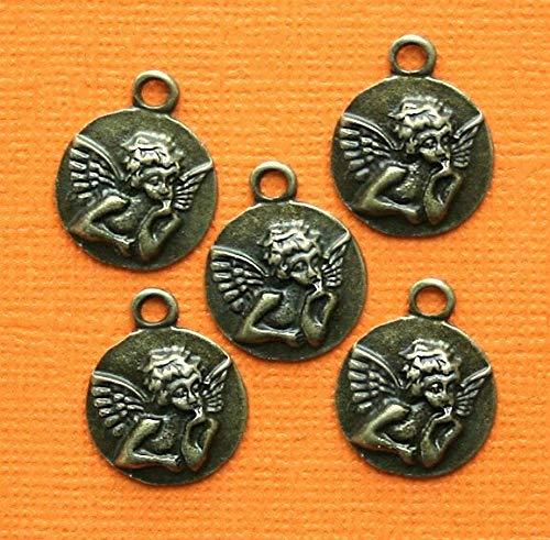 10 Angel Cherub Charms Antique Bronze Tone - BC568