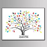 Arts & Crafts : shelling home Thickening Waterproof Fingerprints Tree, 23.6'' Creative DIY Guest Signature Sign-in Book Canvas Fingerprints Tree Painting for Wedding Birthday Party with 12 PCS Ink Pads