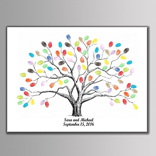 Ink Tree - shelling home Thickening Waterproof Fingerprints Tree, 23.6'' Creative DIY Guest Signature Sign-in Book Canvas Fingerprints Tree Painting for Wedding Birthday Party with 12 PCS Ink Pads