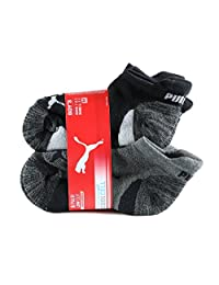 PUMA Boy's Low Cut Socks - 6 Pairs, Shoe Size 9 - 3.5, Black