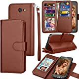 Tekcoo For Galaxy J7 Sky Pro/J7 V/J7 Prime/J7 Perx Wallet Case, For Samsung Halo/J7 2017 PU Leather Case, Credit Card Slots Carrying Folio Flip Cover [Detachable Magnetic Case] Kickstand Brown