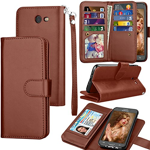 Tekcoo Compatible for Galaxy J7 Sky Pro / J7 V / J7 Prime / J7 Perx/Samsung Halo / J7 2017 PU Leather Wallet Case, Credit Card Slots Carrying Flip Cover [Detachable Magnetic Case] Kickstand Brown