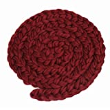 Fenical Newborn Baby Hand-woven Braid Rugs Blanket Photography Props Twisted Braids (Wine Red)