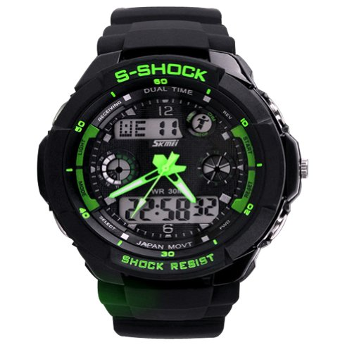 New Unisex Fashion Sport Watch Multifunction Multi-colour Dual Time Led Light Analog Digital Waterproof Alarm S-Shock Boys Girls Women Men Wristwatch With Gift Package (Green)