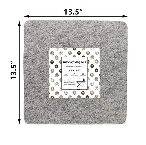 Wool Pressing Mat for Quilting - Compact Quilt Ironing Pad for Precision Pressing and Ironing - Pure New Zealand Lamb Wool Provides Superior Quality for Faster Quilting - 13.5 x 13.5