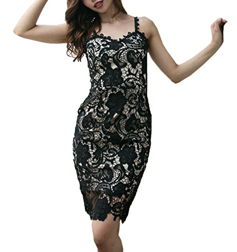WOZNLOYE Sommer Damen Trägerkleid Sexy V Schnitt Rückenfrei Knielang Kleid  mit Schlitz Schlank Spitzen Kleider Partykleid 79b47fb2b8