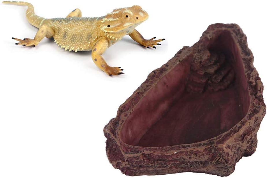 POPETPOP Resin Gecko Feeding Bowl - Lizard Food Bowl Bearded Dragon Feeder, Imitation Tree Bark Reptile Food and Water Dish Feeding Basin for Frog Spider Wall Lizard