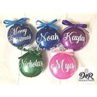 Monogram Glitter Custom CHRISTMAS TREE ORNAMENT with NAME, YEAR, BOW (On Front) & HAPPY HOLIDAYS OR MERRY CHRISTMAS (On Back) - Personalized/Customized Hanging GIFT Idea - Safe Plastic - D&R Decor