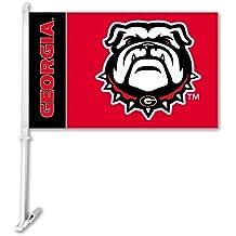 NCAA Georgia Bulldogs Car Flag Bulldog Logo with Free Wall Brackett