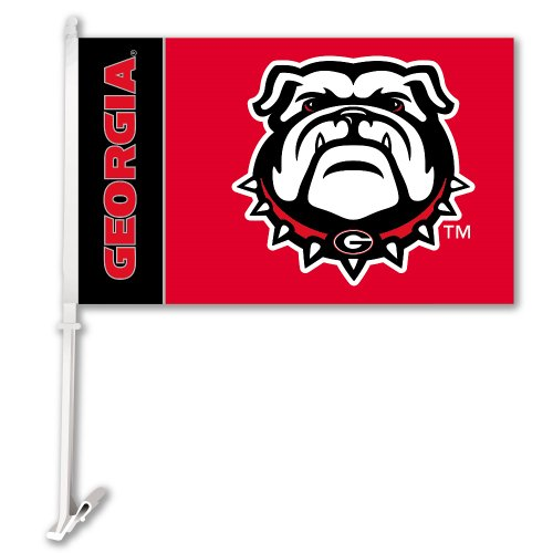 BSI NCAA Georgia Bulldogs Car Flag Bulldog Logo with Free Wall (Georgia Bulldogs Ncaa Car Flag)