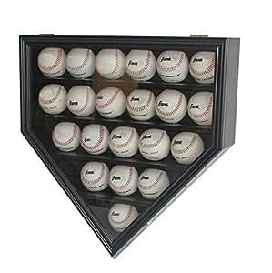 21 Baseball Display Case Cabinet Holder, w/UV Protection, Lockable (Black)