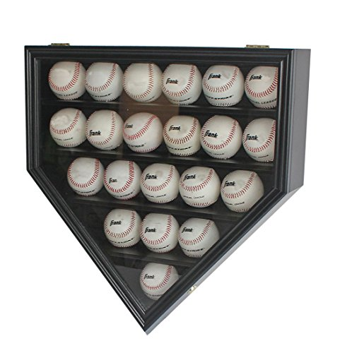 Baseball Display Cases Shop - Solid Wood 21 Baseball Display Case Cabinet Holder, w/UV Protection, Lockable (Black)
