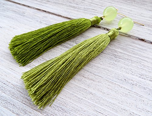 Apple green tassel earrings with jade, silk earrings, long drop earrings, statement earrings, modern jewelry, italian designer, gift for her, bridesmaid jewelry - Apple Green Jade