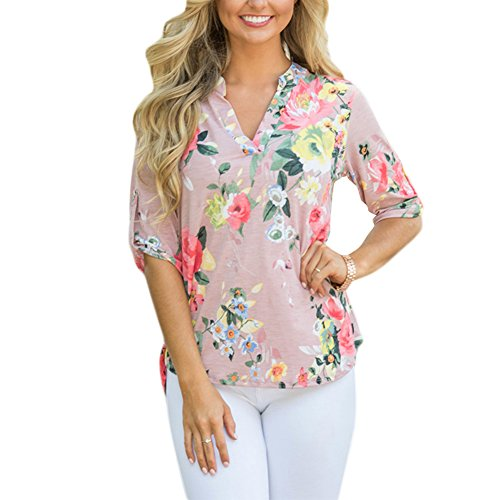 Lover-Beauty Nude Pink Floral Print T-Shirt Three Quarter Sleeve Casual Loose Blouse Tops L