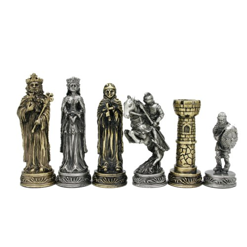 WE Games Medieval Chessmen - Pewter with 3.5 in. King by Wood Expressions