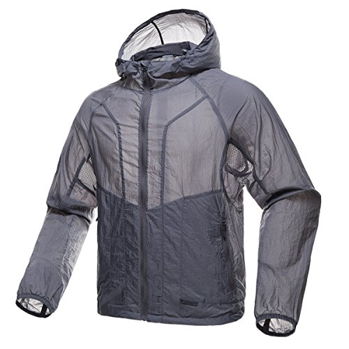 FREE SOLDIER Men's Tactical Jacket Lightweight Wind Breaker Jacket Water-Resistant Breathable Hiking Cycling Jacket (Gray, L)