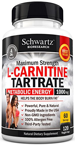 L-Carnitine 1000mg Essential Amino Acid to Burn Body Fat, Speed Up Muscle Recovery, Boost Healthy Metabolism, Decrease Fat Mass, Reduce Fatigue & Increase Muscle Mass. Made in USA