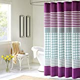 Halo brings youth and vibrancy to your bathroom with a teal and white checkered print and horizontal Purple stripes. A bold Purple stripe runs along the bottom of the shower curtain. Made from polyester this shower curtain is machine washable...