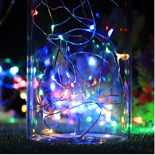 Matoen LED Light Chains Solar Cork Wine Bottle Stopper Copper Wire String Lights Fairy Party Festival Home Garden Outdoor Indoor July of 4th Decor 2M 20LED (Multicolor)]()