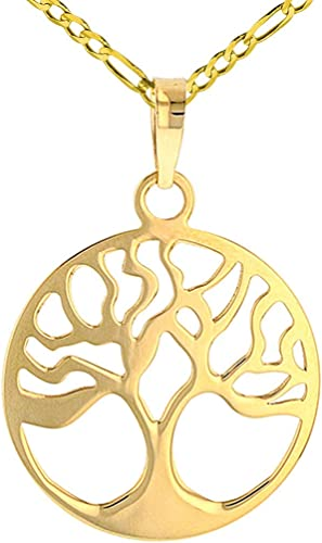 Solid 14K Yellow Gold Textured Elegant Tree of Life Pendant Figaro Chain Necklace