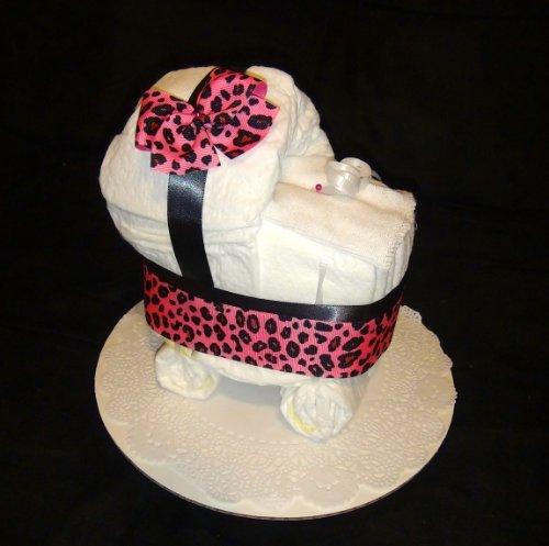 Leopard Diaper Cake Stroller Centerpiece or Gift By Little Kg's Dreams