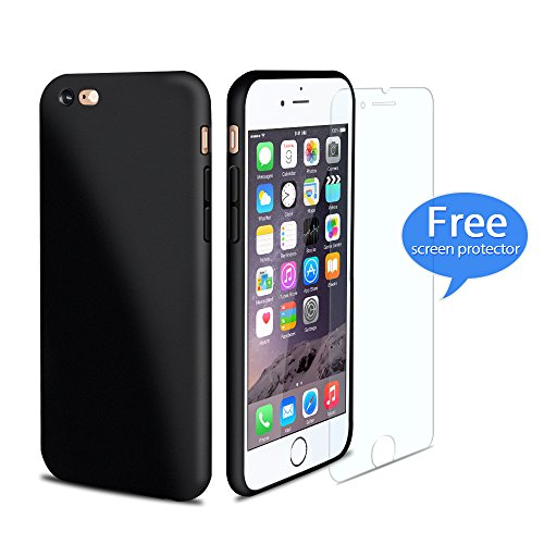 iPhone 6 / iPhone 6s Case, Ultra-Thin TPU Shockproof Anti-Scratch Fully Protective Case with Free Screen Protector, Camera Protection, Matte Finish, Rubber Solft Handfeeling, Black, Non-Fading