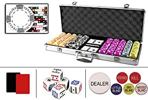 New Premium 500 Real Clay 11.5 gram Texas Holdem Casino Poker Chips Set w/6 Dealer Buttons, Case & Cards