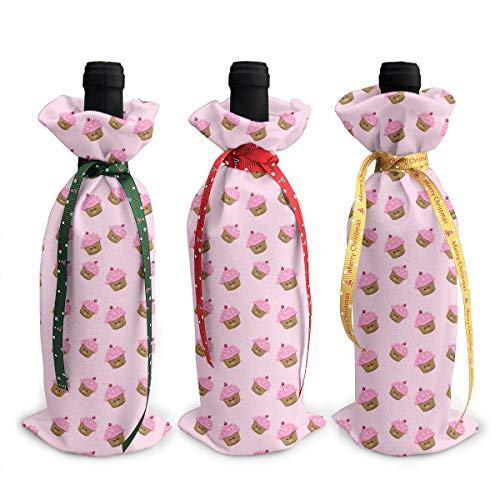 Octavia Lincoln Christmas Red Wine Bottle Jacket (3 Pieces) Pink Cupcakes Wallpaper Party Christmas Decorations Hotel Bar Kitchen Table Decor
