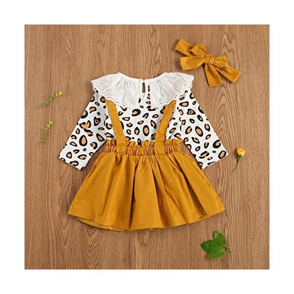 Carolilly 3 Pezzi Completo Bambina Stampa Leopardato Pagliccetto a Manica Lunga in Pizzo+Vestito Bambina Principessa… 4