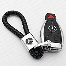 For Mercedes-Benz Logo Emblem Key Chain Key Ring Metal Alloy BV Style Black Leather Gift Decoration Accessories AMG (Black)
