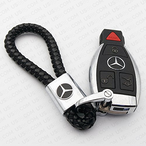 For Mercedes-Benz Logo Emblem Key Chain Key Ring Metal Alloy BV Style Black Leather Gift Decoration Accessories AMG (Black) (Mercedes Amg Benz)
