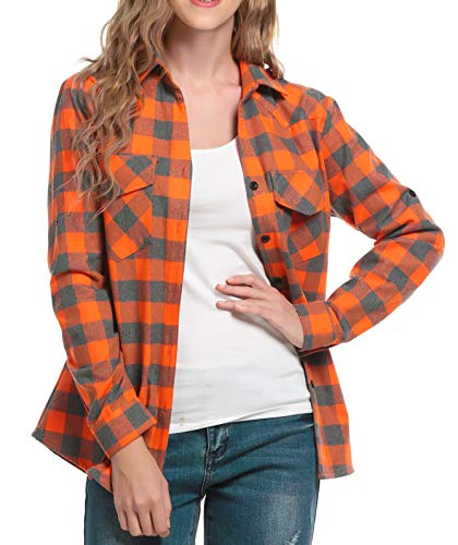 Women's Long Sleeve Flannel Plaid Shirt Orange L