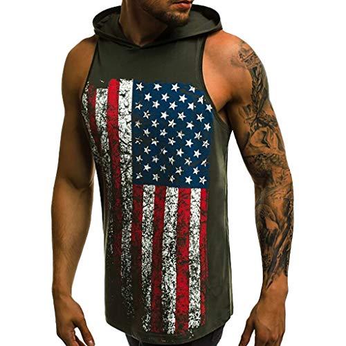 (Men's American Flag Sleeveless Hoodie Tank Top Stars Stripes Shirt Workout Tank Tops Sleeveless Sport Pullover Sweatshirt Green)