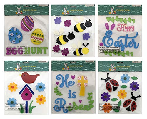 Easter & Spring Gel Sticker Window Clings Decoration Decor Bundle of 6 Packages