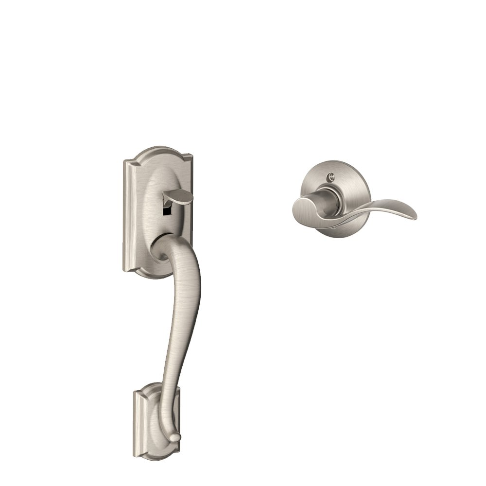 Camelot Front Entry Handle Accent Left Handed Interior Lever (Satin Nickel)  FE285 CAM 619 ACC LH