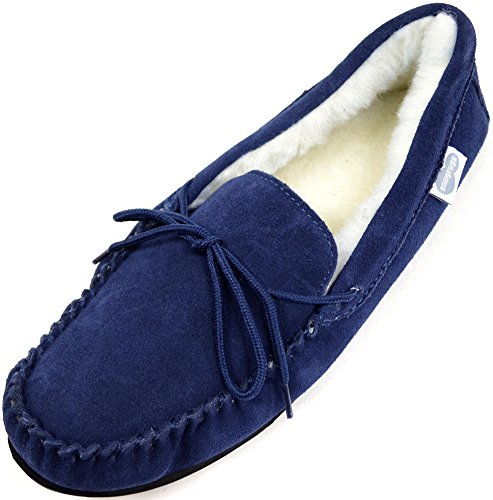 Moccasin Lined Suede with Blue Sole Navy Wool Uomo Rubber Pantofole SNUGRUGS qtZxFp