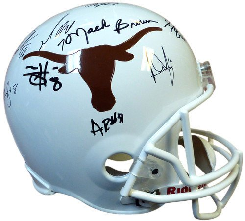 2005 National Champions Texas Longhorns Signed Riddell Replica Football Helmet With 20 Signatures Including Vince Young and Mack Brown - PSA/DNA Authentication - Autographed NFL Football Helmets