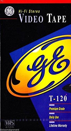 GE Hi-Fi Stereo T-120 Video Tape (Premium Grade) - 5 Pack