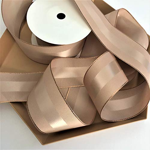 (Tan and Rose Gold Grosgrain Ribbon 1 1/2 inch, 10 Yards, Double Face, Premium Fabric Ribbon with Metal Trim for Elegant Gifts, Party Favors, Baby Showers, Crafts, Décor, Millenary Hat)