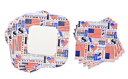 Square Patriotic Colors Plates and Napkins 28 Piece Set, Serves 14 (