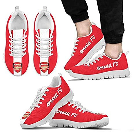 Southernmost Design Arsenal FC Themed Casual Athletic Running Shoe Mens Womens Sizes Sneakers London England Soccer Apparel and Gifts for Men and Women