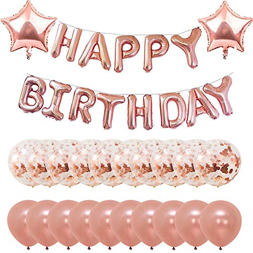 Rose Gold Birthday Confetti Balloons Banners 12 inches Latex Girls Baby Shower Party Supplies Decorations Kit(16 inches banner, set of 36)
